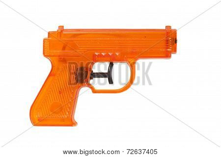 Orange Plastic Water Pistol Isolated On A White Background