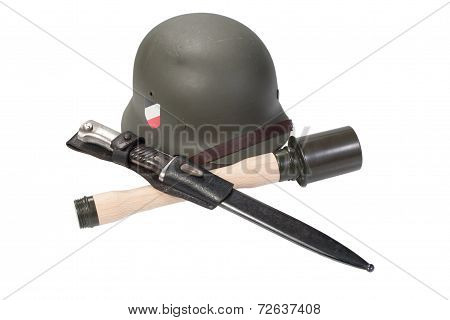 German Army Helmet, Hand Grenade An Bayonet World War Ii Period Isolated On A White Background