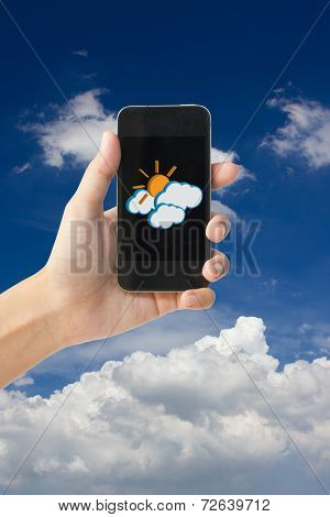 Sun and cloudy icon on touch screen mobile phone, weather forecast concept.