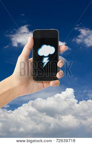 Cloudy and thunderbolt icon on touch screen mobile phone, weather forecast concept.