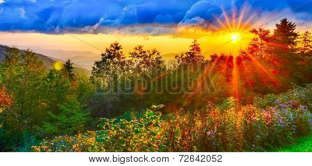 Blue Ridge Parkway Late Summer Appalachian Mountains Sunset Western Nc Scenic Landscape Vacation Des