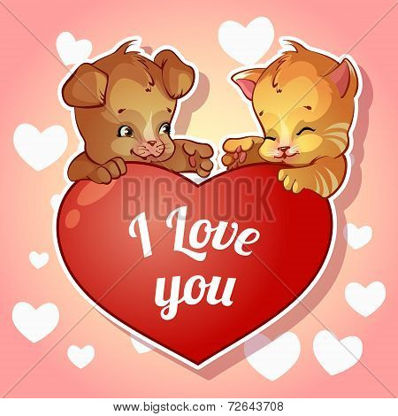 Cute puppy and kitten with hearts for Valentine's Day