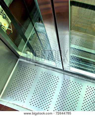The close view of an elevator's hoistway