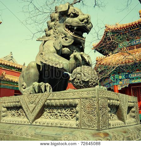 Bronze Lion In Lama Temple (Beijing, China)
