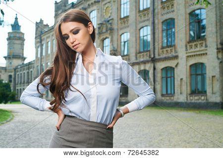 young woman in formal clothes