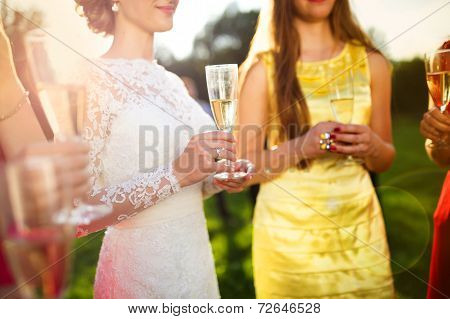 Bride with bridesmaids toasting