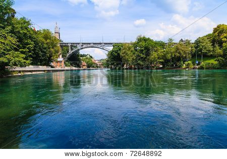 Metal Bridge Across Aare River In Bern, Switzerland
