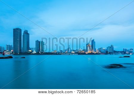 Beautiful Coastal City Of Xiamen Skyline In Nightfall