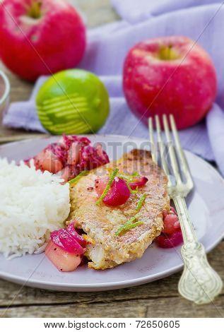 Fried Sea Perch With Apple Chutney