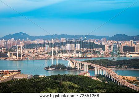 Aerial View Of Xiamen At Dusk