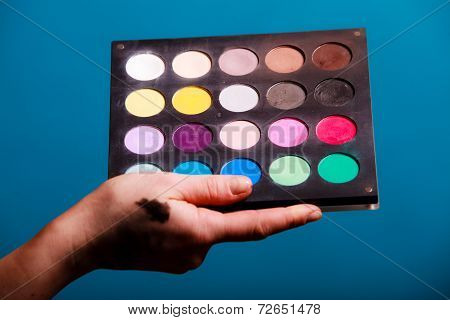 Palette Of Professional Colorful Eye Shadows. Cosmetology Product.