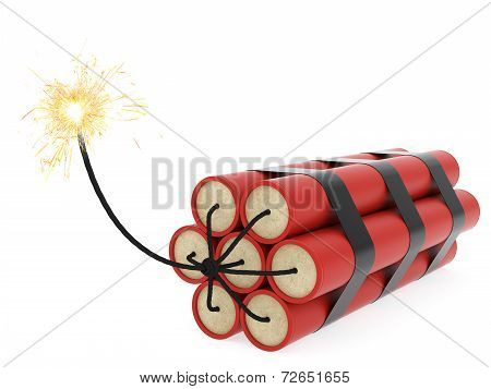 Dynamite With Burning Wick On White Background
