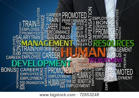 Business hand touching human resources management concept
