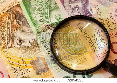 Polish Zloty  And Magnifying Glass