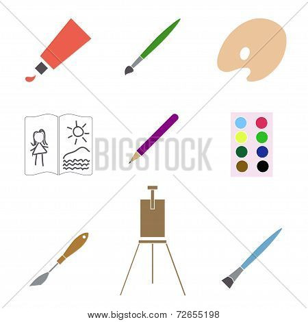 Art materials icons set