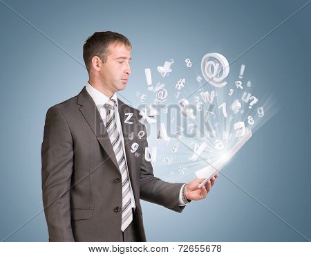 Businessman in suit hold paper sheets with flying figures