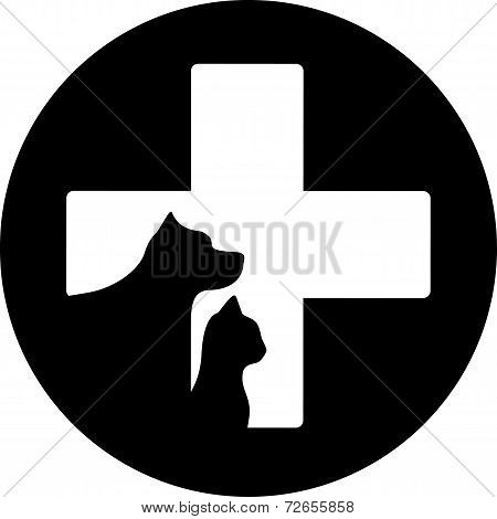 Black Round Veterinary Care Icon