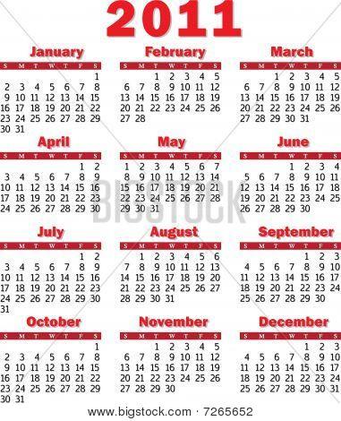 calendar 2011 red