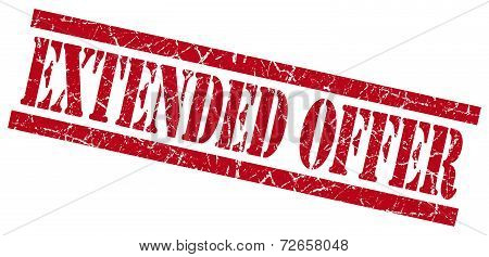 Extended Offer Red Grungy Stamp Isolated On White Background