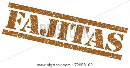 Fajitas Brown Grungy Stamp Isolated On White Background