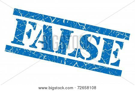 False Blue Grungy Stamp Isolated On White Background