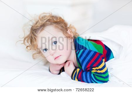 Portrait Of A Cute Toddler Girl Just Woke Up Early In The Morning