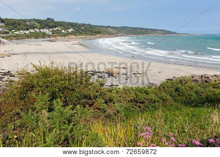 Coverack beach The Lizard Cornwall England UK with white waves