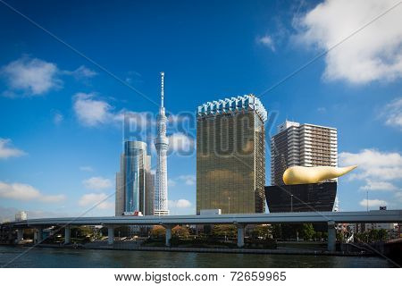 Tokyo Sky tree and Asahi Beer Hall in Sumida.