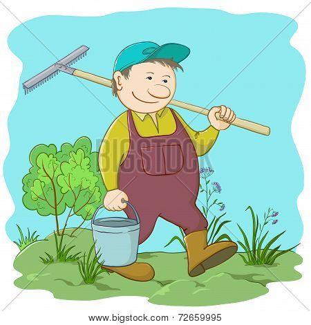 Man gardener in a garden