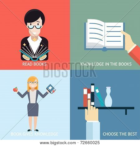 Reading Books Signs and Symbols Icons Hands Characters Template on Stylish Background Modern Flat De