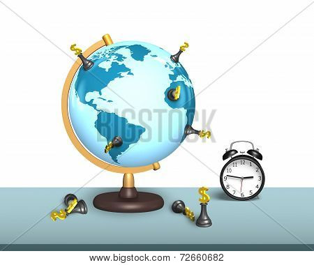 Chess Stand On Terrestrial Globe With Clock