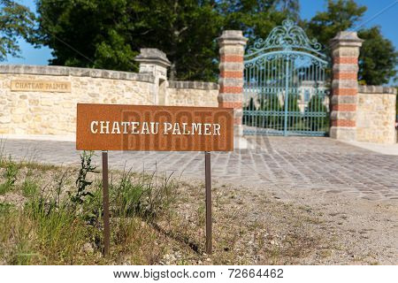 Bordeaux, France -  May 2014: Entrance Of Chateau Palmer - One Of The Most Famous Winemakers In Fran