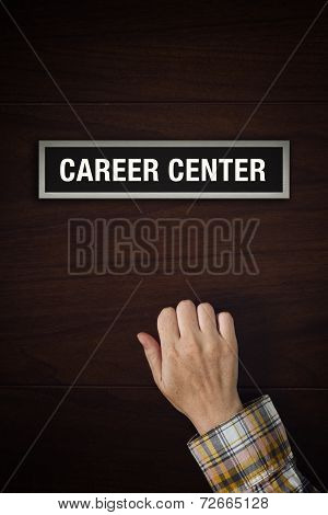 Hand Is Knocking On Career Center Door
