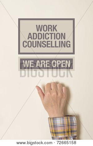 Hand Is Knocking On Work Addiction Counselling Door