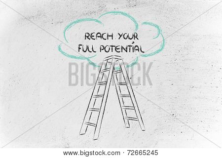 Funny Ladder Of Success Design With Motivational Writing