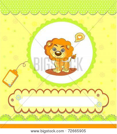 Baby Shower Card ,yellow With Lion