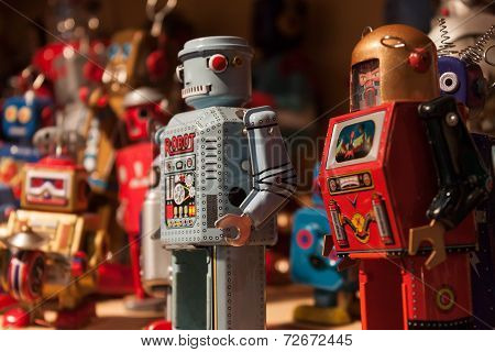 Vintage Tinplate Robots On Display At Homi, Home International Show In Milan, Italy