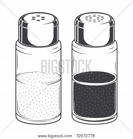 Glass Salt And Pepper Shakers Isolated On A White Background. Monochromatic Line Art. Retro Design.