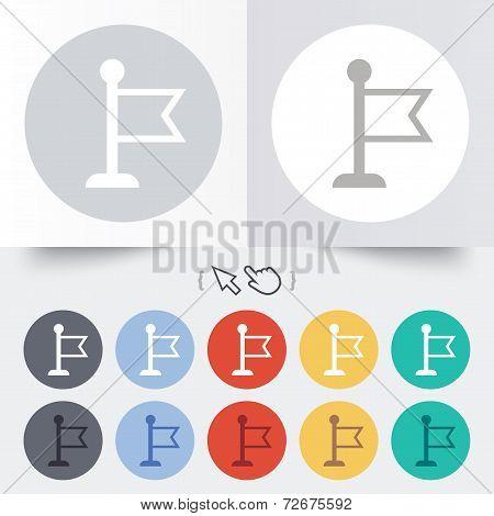 Flag pointer sign icon. Marker symbol.