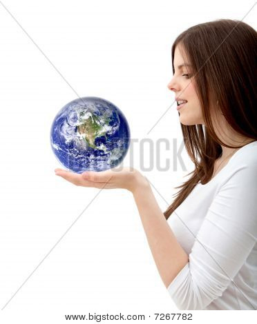 Woman Holding The World