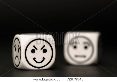 Emoticon Dice With Cunning And Confused Expression Sketch
