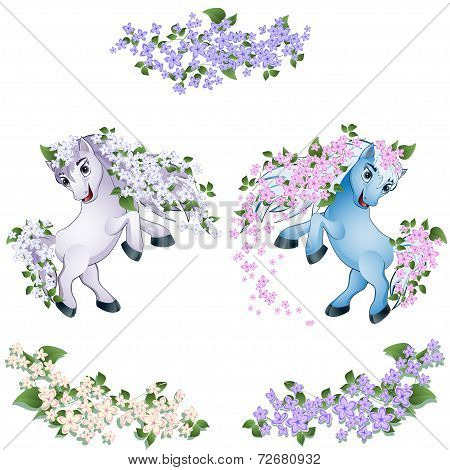 horses with flowers