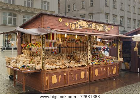 Kiosk with wooden items on a market