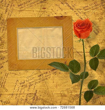 Vintage Aged Background, With Old Postcard, Envelopes, Frames And Rose