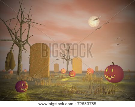 Halloween scenery - 3D render