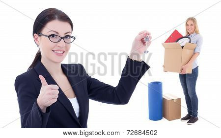 Moving Day Concept - Business Woman With Metal Key And Girl With Box Isolated On White