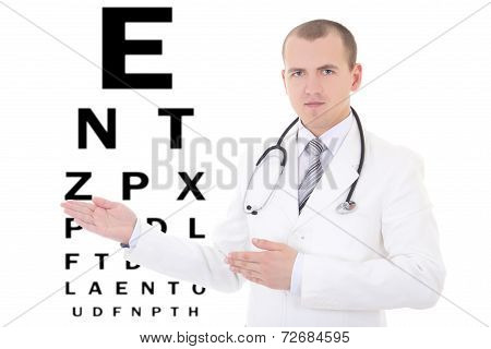 Young Male Doctor Ophthalmologist And Eye Test Chart Isolated On White