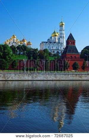 Annunciation And Archangelic Cathedral And Ivan The Great Bell Tower Of Moscow Kremlin