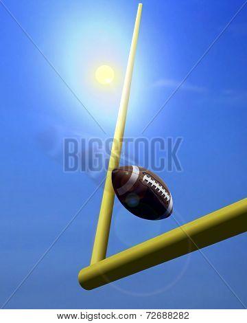 Football And Goal Post Under  Sunlight