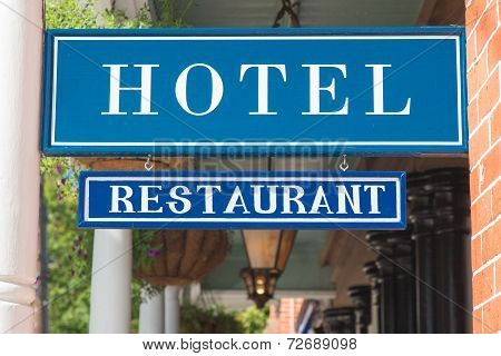 Hotel And Restaurant Sign